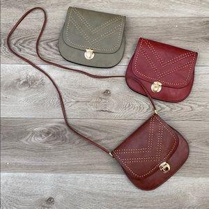 Faux leather clutch shoulder bag